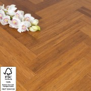 Solid Carbonised Strand Woven Bamboo Flooring 90mm Parquet Block BONA Coating SAMPLE