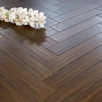 Solid Chestnut Strand Woven 90mm Parquet Block BONA Coated Bamboo Flooring 1.134m²