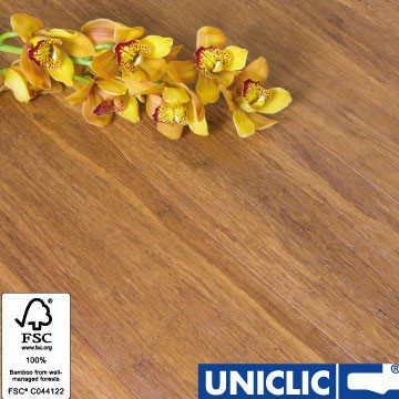 Solid Brushed Carbonised Strand Woven 135mm Uniclic® BONA Coated Bamboo Flooring 1.5m² FSC1