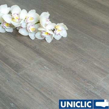 Solid Stone Grey Strand Woven 135mm Uniclic® BONA Coated Bamboo Flooring 1.5m²