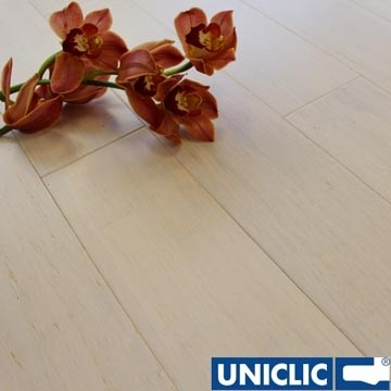 Solid Ivory White Strand Woven 125mm Click BONA Coated Bamboo Flooring 2.29m²
