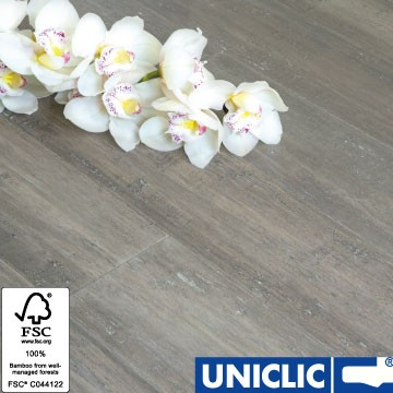 Solid Stone Grey Strand Woven 135mm Uniclic® BONA Coated Bamboo Flooring 1.5m² per pack FSC1