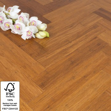 Solid Carbonised Strand Woven 90mm Parquet Block BONA Coated Bamboo Flooring 1.134m² FSC1