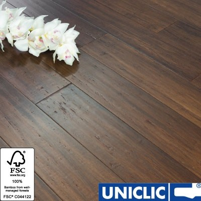 Solid Chestnut Strand Woven 125mm Click BONA Coated Bamboo Flooring 2.29m² FSC1