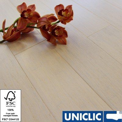 Solid Ivory White Strand Woven 125mm Click BONA Coated Bamboo Flooring 2.29m² FSC1