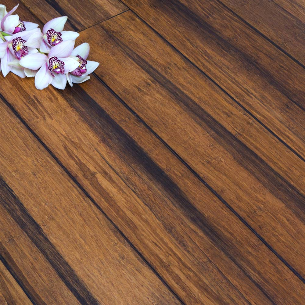 Solid Rustic Carbonised Strand Woven 135mm Uniclic Bona Coated Bamboo Flooring 1 5m² Fsc1