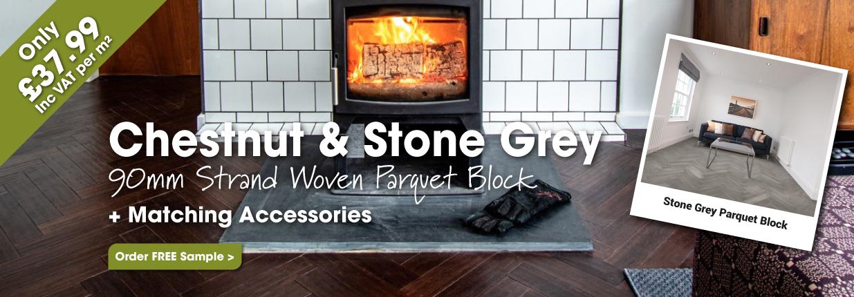 Chestnut & Stone Grey Strand Woven Parquet Block Bamboo Flooring