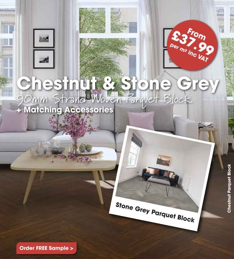 Chestnut and stone grey parquet block flooring