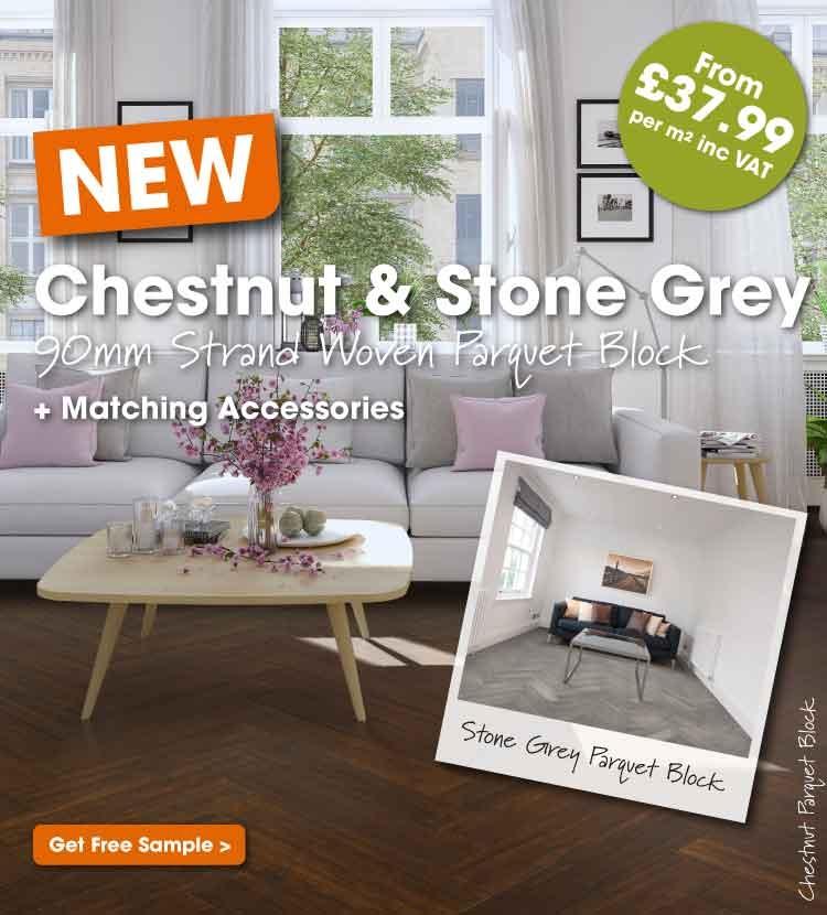 Chestnut and stone grey parquet block flooring