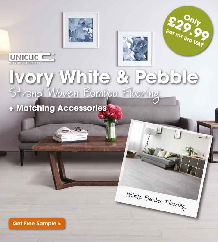 Ivory white and pebble strand woven bamboo flooring
