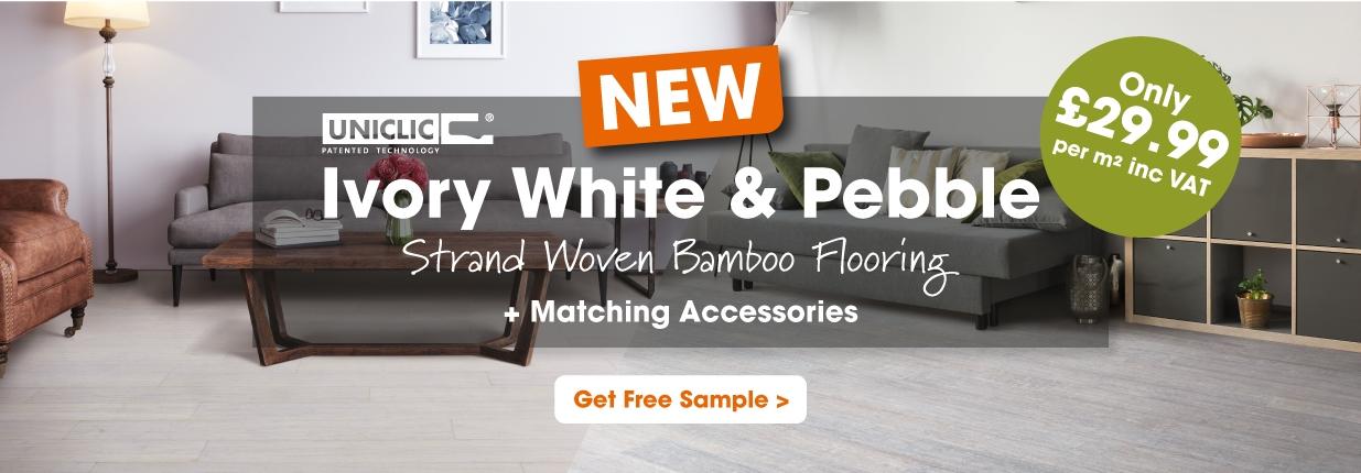 Ivory White Pebble Strand Woven Bamboo Flooring