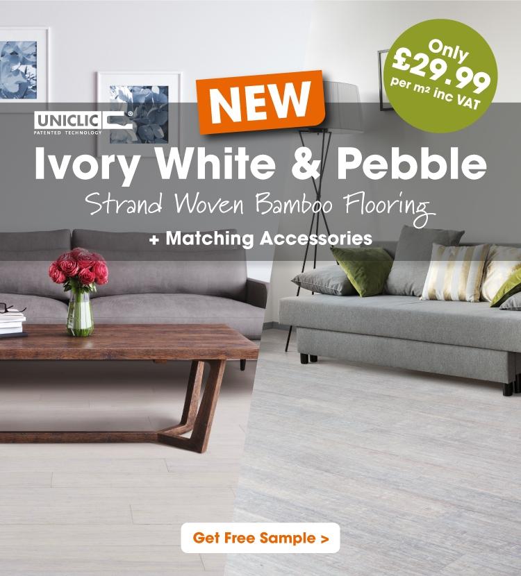 Ivory White & Pebble Strand Woven Bamboo Flooring