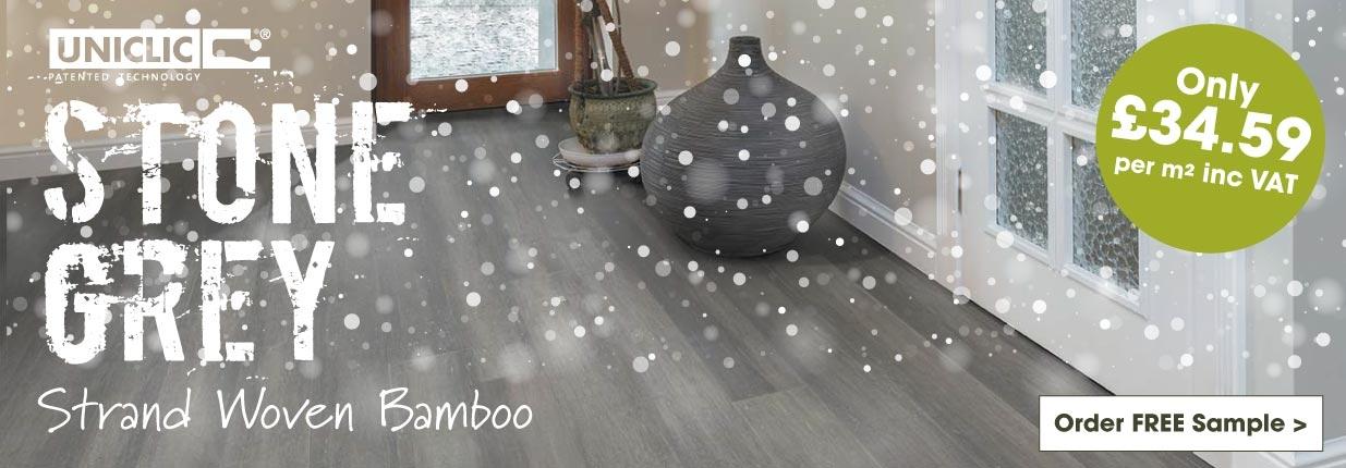 Stone Grey Strand Woven bamboo flooring