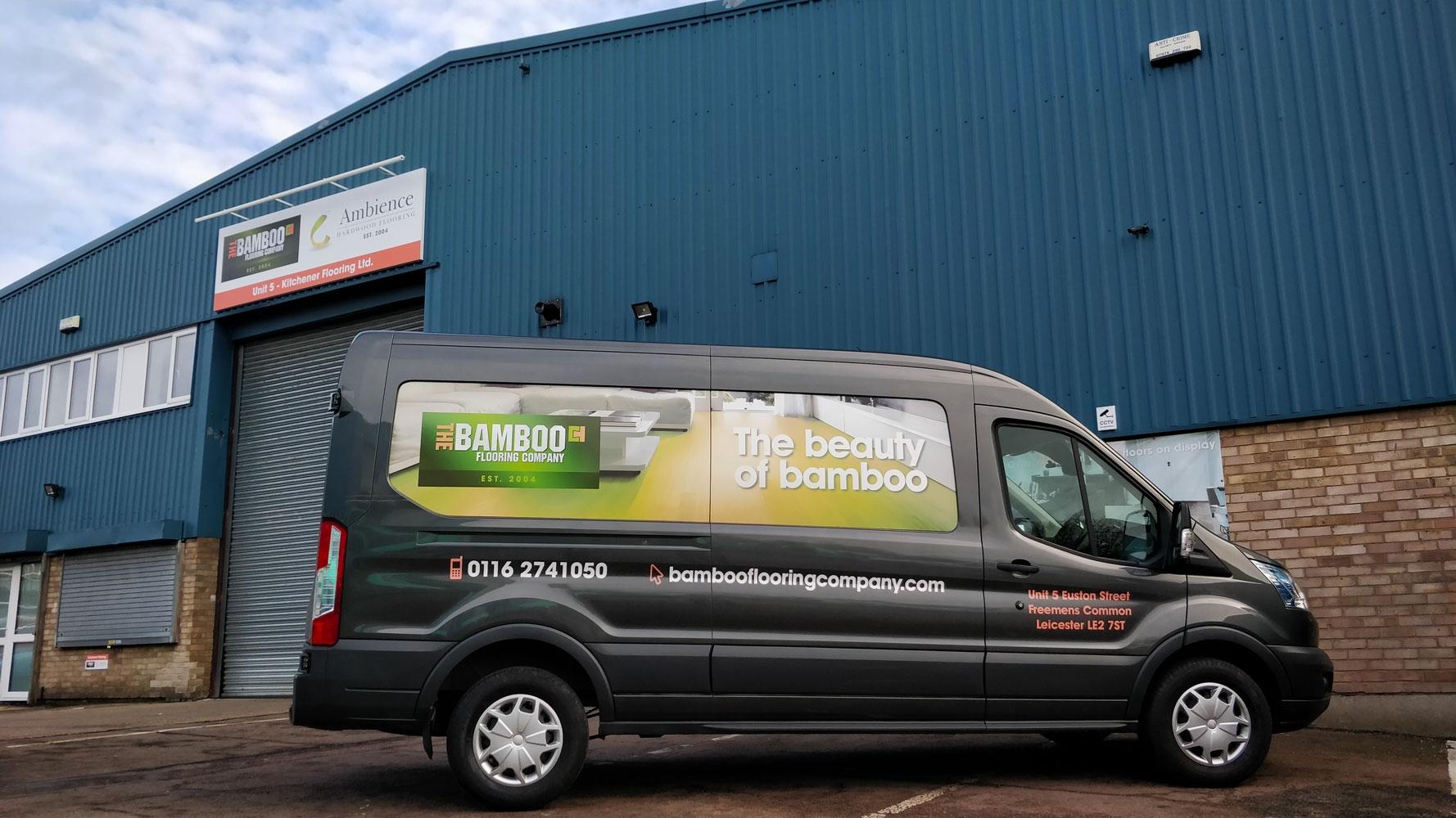 Bamboo Flooring Building and Van