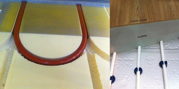 Water UFH pipes in a tray (left) and in screed (right)