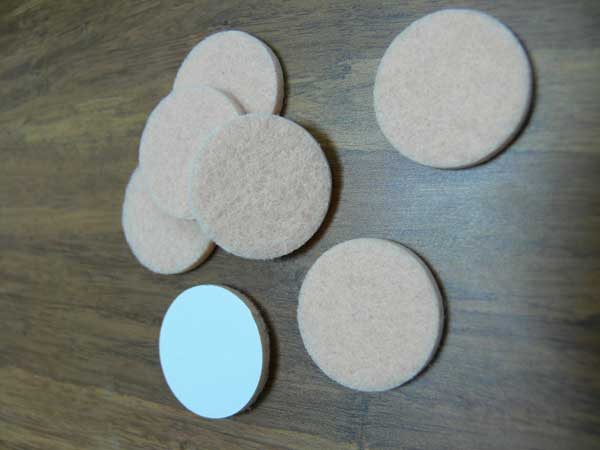 Felt protector pads on bamboo flooring