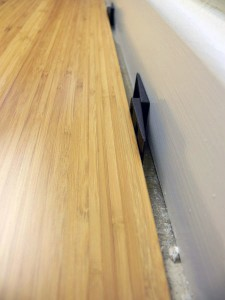Carbonised Vertical Bamboo Flooring with an expansion gap