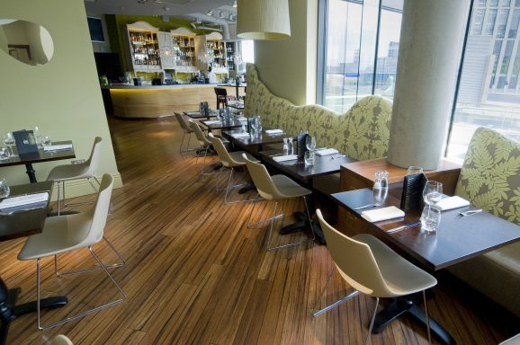 Rustic Carbonised Strand Woven Uniclic Bamboo Flooring in Rocket Restaurant, London