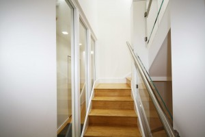 Natural Strand Woven Uniclic Bamboo Flooring on Stair Case