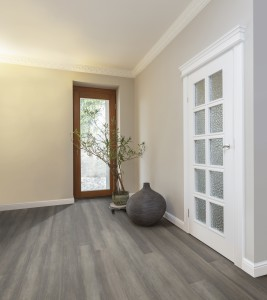 Hallway with grey bamboo floor and vase