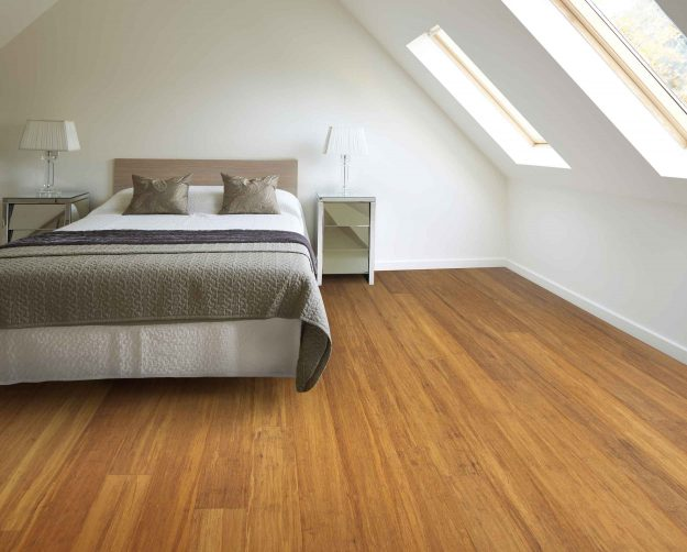 Solid Uniclic Brushed Carbonised Strand Woven 135mm Bamboo Flooring Room Shot