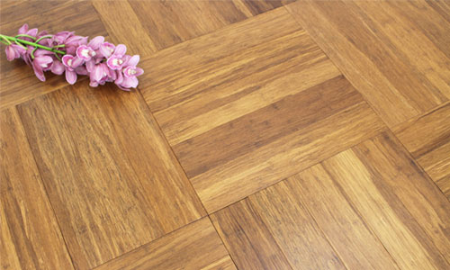 brown bamboo parquet block flooring laid out in basket weave pattern
