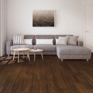 Dark brown bamboo floor with grey sofa