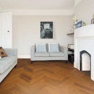 brown parquet block bamboo flooring in living space