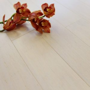 white floor with flower on