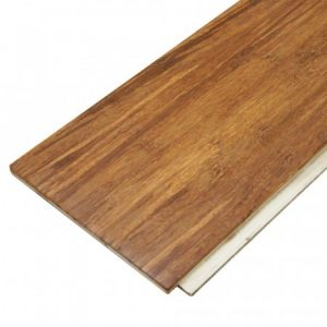 A plank of brown bamboo flooring