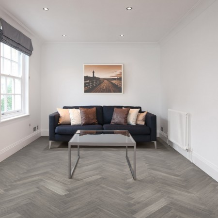 grey parquet block floor in living space