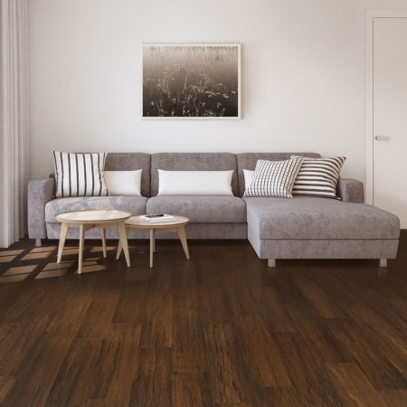 Dark brown bamboo flooring with sofa and coffee table