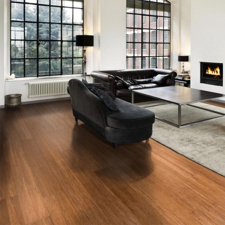 Carbonised bamboo flooring with a rug