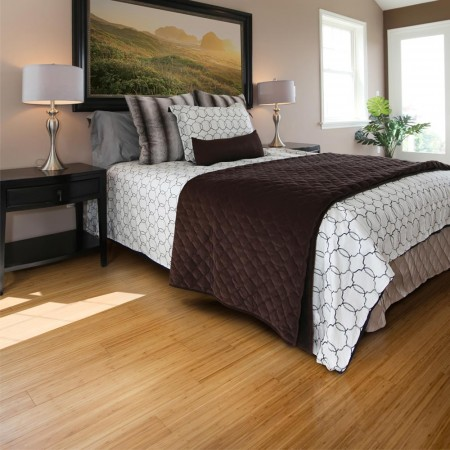 Vertical bamboo flooring in a bedroom (carbonised colour)