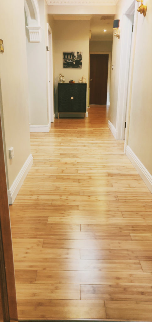 Carbonised Horizontal Bamboo flooring in a hallway