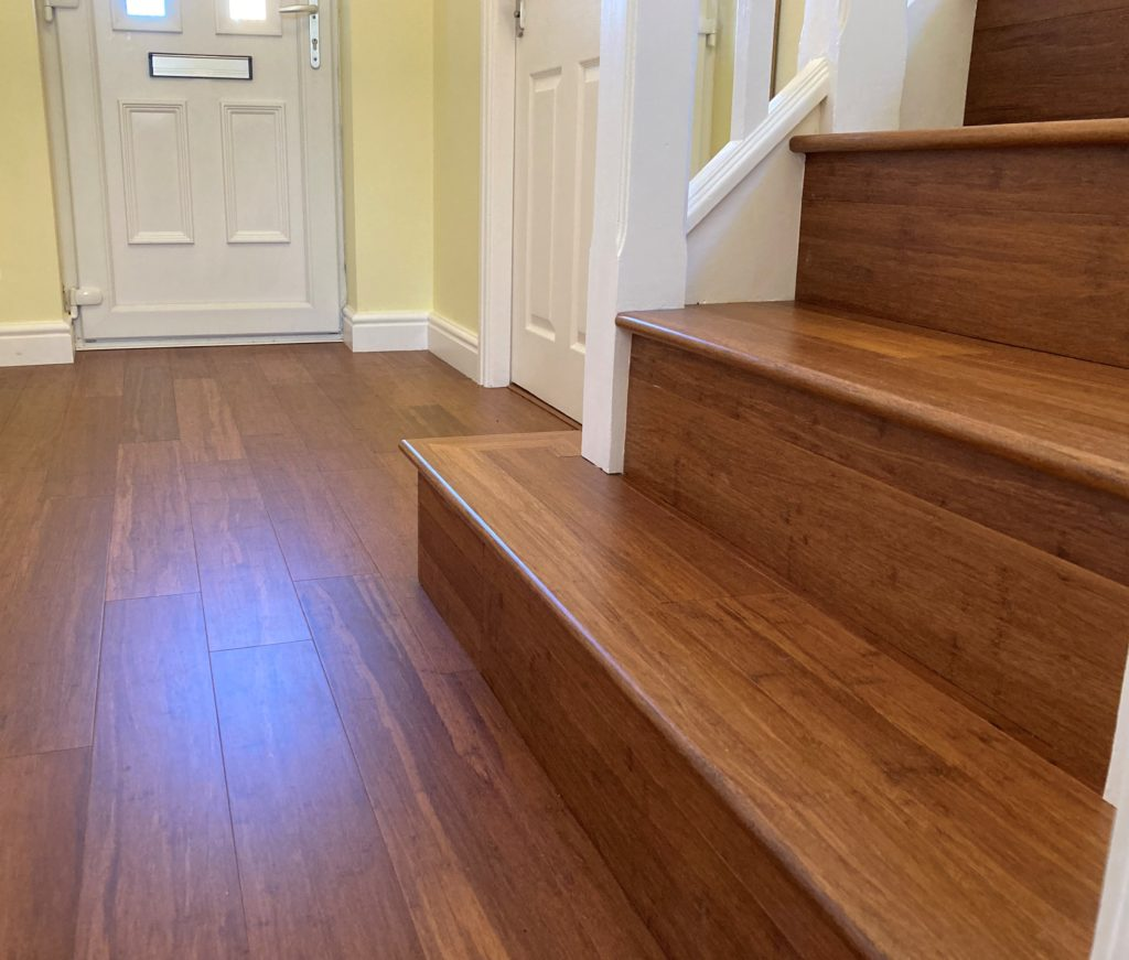 Carbonised Strand Woven Bamboo flooring on a stair case