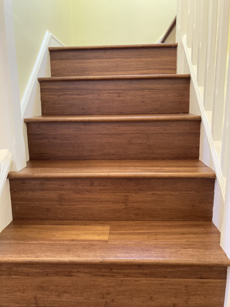 Bamboo flooring on a stair case